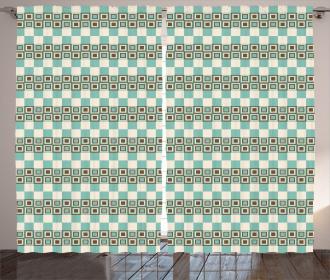 Unusual Grid Squares Curtain
