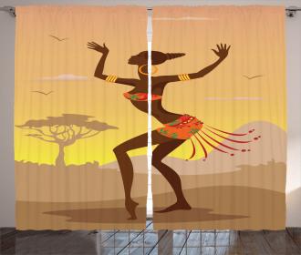 Ethnic Ritual Amazon Lady Curtain