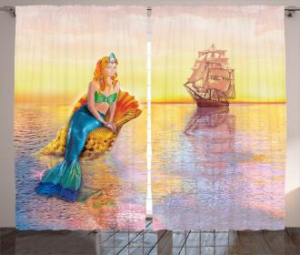 Mythical Figure Ocean Curtain