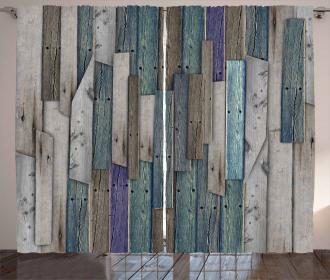Blue Grey Planks Grunge Curtain