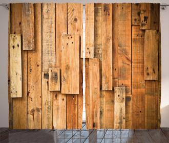 Lodge Wall Planks Print Curtain