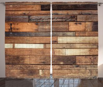 Brown Rustic Floor Look Curtain