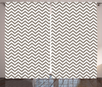 Grey and White Zig Zag Curtain