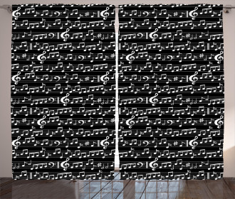 Musical Note Artsy Print Curtain