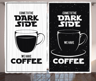 Space and Coffee Themed Curtain