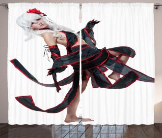 Warrior Style Girl Figure Curtain