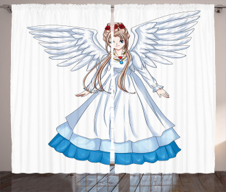 Cartoon with Angel Wings Curtain