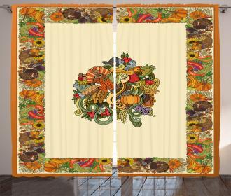 Pumpkin Wreath Bow Curtain