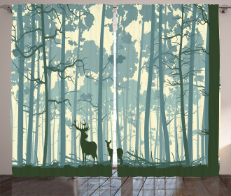 Animals in Foggy Forest Curtain