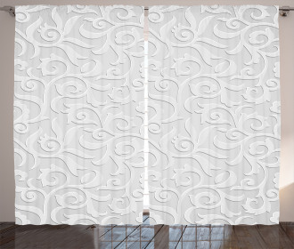 Abstract Curly Leaves Curtain