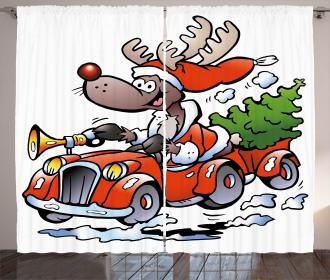 Reindeer in Red Car Curtain