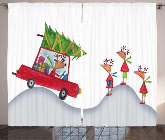 Reindeer Family Noel Curtain