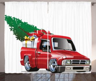 Red Farm Truck Curtain