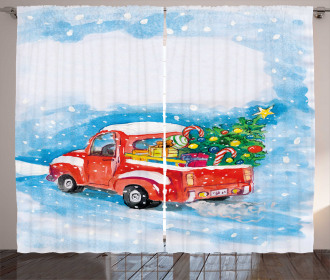 Truck Winter Scenery Curtain