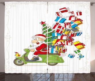 Santa on Motorbike Curtain