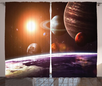 Space View Solar System Curtain