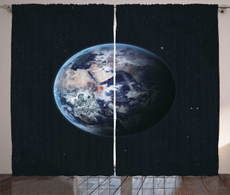 Planet Outer Space Scene Curtain