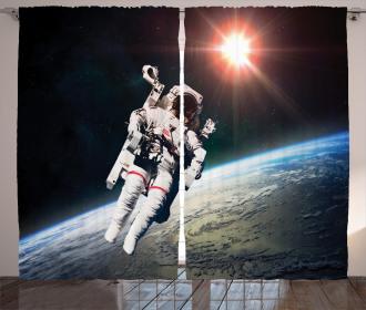 Astronaut with Sun Beams Curtain