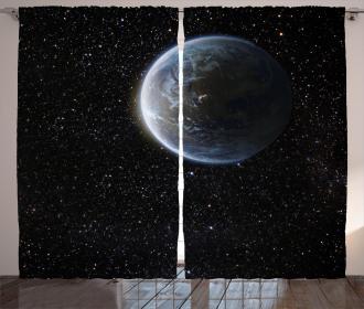 Moon Planet Earth Cosmos Curtain