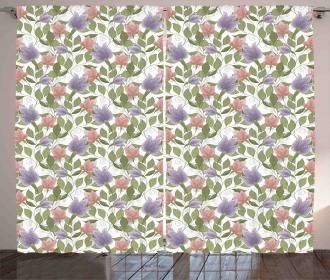 Pastel Tulip Flowers Curtain