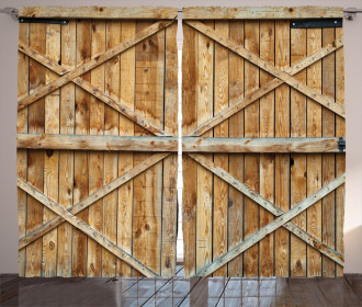 Wooden Timber Door Plank Curtain