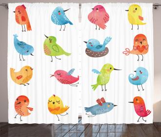 Colorful Cute Humor Bird Curtain