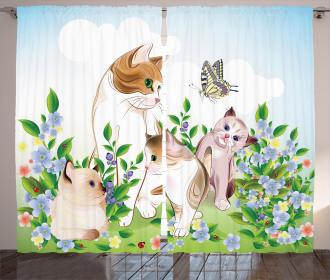 Cute Happy Kittens Curtain