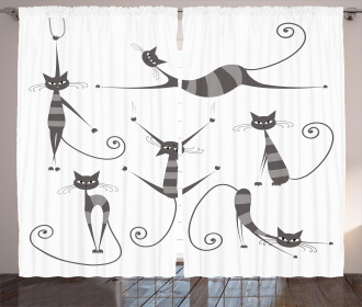 Funny Skinny Striped Cat Curtain