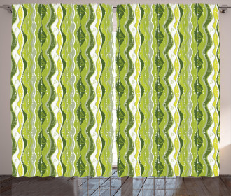 Digital Leaf Floral Lines Curtain