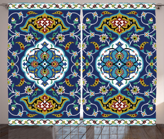 Oriental Tile Effects Curtain