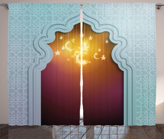 Arabic Signs and Stars Curtain