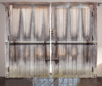 Wooden Oak Country Gate Curtain