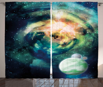 Spiral Galaxy and Planets Curtain