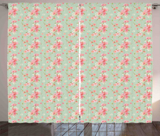 Retro Spring Blossoms Curtain