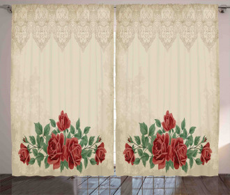Vintage Love Red Roses Curtain