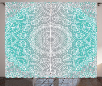 Grey and Turquoise Curtain Ombre Ethnic Print 2 Panel Window Drapes