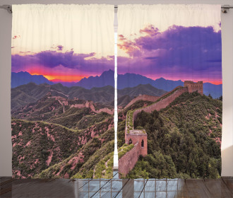 China Curtain Cloudscape Exotic View Print 2 Panel Window Drapes
