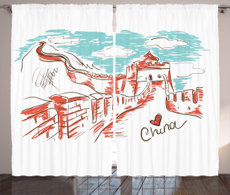 Sketch Chinese Curtain