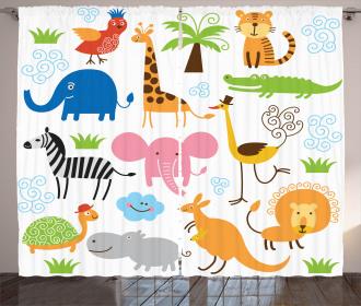 Safari Giraffe Elephant Curtain