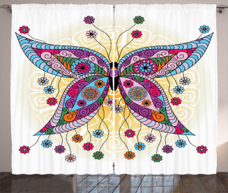 Ethnic Curtain Spring Flowers Butterfly Print 2 Panel Window Drapes