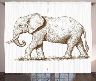 Safari Wild Animals Art Curtain
