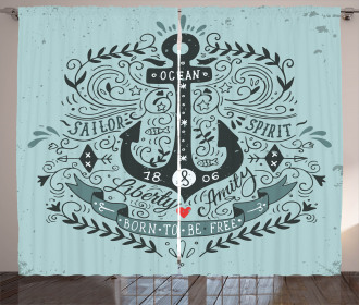 Vintage Label and Anchor Curtain