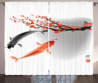Koi Carp Fish Couple Curtain