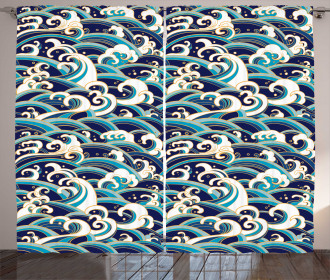 Ocean Waves Pattern Curtain