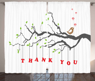 Thank You Quote Hearts Curtain
