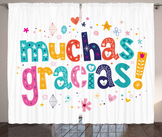 Spanish Thanks Quote Curtain