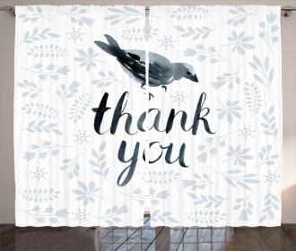 Cute Bird Say Thank You Curtain