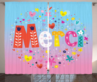 French Quote with Hearts Curtain