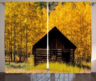 Farmhouse in Aspen Tree Curtain