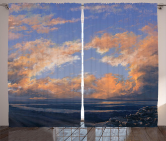 Scenery Curtain Open Sky Landscape View Print 2 Panel Window Drapes